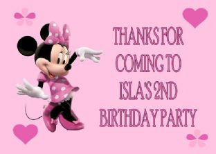 4 x PINK Minnie Mouse Birthday Party Bags with Personalised Sticker